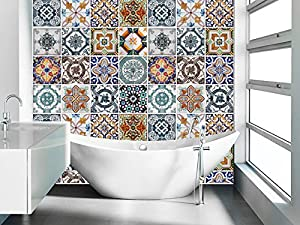 Wall Art Tile Sticker Portuguese Tiles Pattern Decal Pack With 3
