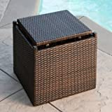Lakeport Outdoor 3pc Brown Wicker Table Set