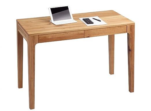 Dreams4Home Schreibtisch 'Kiawah' Holz Massiv Wildeiche Burotisch Tisch Sekretär Schminktisch 110 x 76 cm
