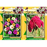 Airex Portulaca Mixed & Cockscomb Flower Seeds ( Pack Of 15 Seeds Per Packet)