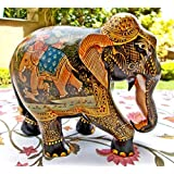 Collectible India Wood Elephant Figurine Showpiece - Indian Royal Shikar Art Hand Painted - Great Art & Master...