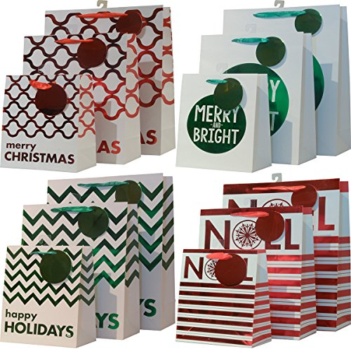 Christmas Gift bag set; White, Red & Green bags with hot stamp designs; set of 12 bags in assorted size variety pack