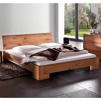 Massivholzbett Bett modern Eiche natur geölt NALA Breite 128 cm Liegefläche 120x200 Stutz-Steg Ohne Pharao24