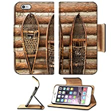 buy Msd Apple Iphone 6 Plus Iphone 6S Plus Flip Pu Leather Wallet Case Pair Of Vintage Snow Shoes Hanging On A Cabin Image 24053861