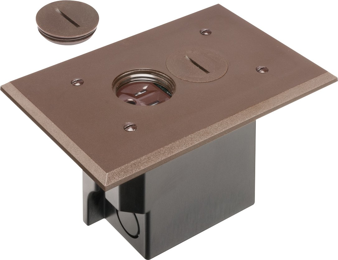 New arlington flbr101br 1 floor electrical box kit with for Floor receptacle