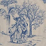 Toile de Jouy Fabric Aimee Authentic French Designer 100 Cotton Print 140cms 55 Wide sold by the metre Blue