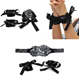 Miswilsi Couples Games Flirt Tools Soft Black Adults Toys Lace Bracelets Eye Mask and Handcuffs Lace Handcuffs Blindfolded Mask (Color: Black, Tamaño: one size)