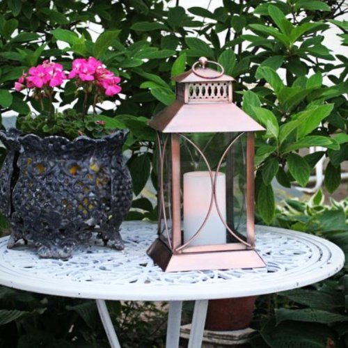 Flipo Pacific Accents Neuporte Indoor/Outdoor Lantern with Flameless Resin Candle, Copper Finish