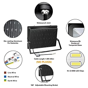 SOLLA 500W LED Flood Light, IP66 Waterproof, 40000lm, 2750W Equivalent, Super Bright Security Light, 3000K Warm White, Exterior Lighting Fixture Outside Floodlight Stadium Light Spotlight Wall Light (Color: 3000k Warm White, Tamaño: 500w)