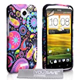 HTC ONE X Black / Multicoloured Jellyfish Pattern Silicone Gel Case Cover With Screen Protector Film And Grey Micro-Fibre Polishing Clothby Yousave Accessories