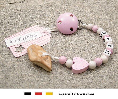 Veilchenwurzel an Schnullerkette mit Namen | natürliche Zahnungshilfe Beißring für Babys | Schnullerhalter mit Wunschnamen - Mädchen Motiv Herz in rosa