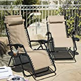 ARKSEN© 2-Pack Zero Gravity Chairs Patio Lounge +Cup Holder/Utility Tray (Tan)