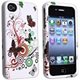 eForCity Snap-on Rubber Coated Case Compatible with Apple® iPhone® 4 / 4S, White Autumn Flower