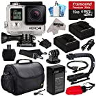 GoPro HERO4 Hero 4 Black Edition 4K Action Camera Camcorder with 16GB Beginner Accessories Bundle includes MicroSD Card + 2x Batteries + Charger + Large Case + Stabilizer Handle Grip + HDMI + MicroSD Reader + Dust Cleaning Care Kit (CHDHX-401)