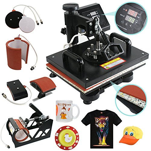 "Super Deal Pro 5 in 1 Multifunction Combo Heat Press Machine, 12"" x 15"" Transfer Sublimation T-Shirt Mug Hat Plate Cap Mouse Pad Black (5 in 1)"