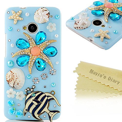 Mavis'S Diary 3D Handmade Crystal Starfish Sea Shell Fresh Summer Flower Lotus Rhinestone Diamond Bling Clear Hard Case Cover For Htc One 801E (Htc M7) With Soft Clean Cloth (Fish And Sea Star)