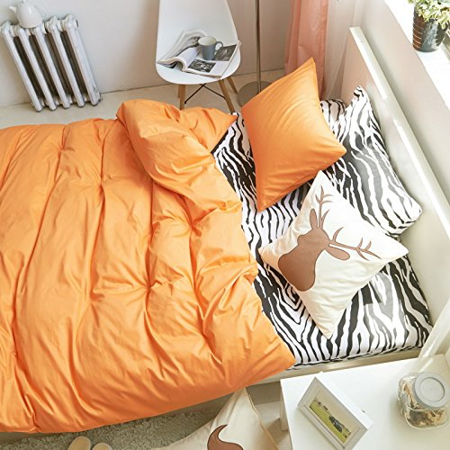 I Love Zebra Orange Zebra Print Bedding Kids Bedding Teens Bedding Animal Print Bedding Duvet Cover Set Gift Idea, Queen Size