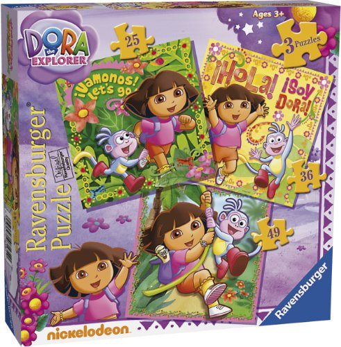 Ravensburger Dora The Explorer 3 In A Box Jigsaw Puzzles