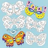 Lot de 6 Masques à colorier avec motif Papillon comprenant 6 différent designs - Idéal pour le Carnaval ou les party masquées...