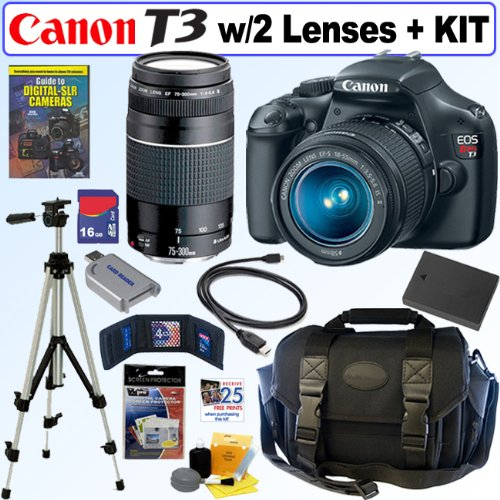Canon EOS Rebel T3 12.2 MP CMOS Digital SLR Camera with EF-S 18-55mm f/3.5-5.6 IS II Zoom Lens & EF 75-300mm f/4-5.6 III Telephoto Zoom Lens + 16GB Deluxe Accessory Kit