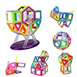 InnooTech Magnetic Building Blocks | 76 Pieces | Let Your Kid Learn Colors and Shapes Through Play | Instruction Booklet and Storage Bag Included | Creative and Educational Gift for Kids (46Pcs)