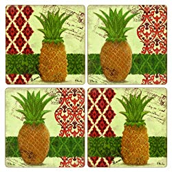 CoasterStone AS10028 Absorbent Coasters, 4-1/4-Inch, Thai Pineapple, Set of 4