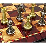 ITALFAMA 70M Real Brass Metal Gold & Silver Color Floral Staunton Chess Men Set W/ 18