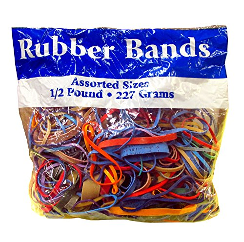 Half Pound Bag of Assorted Dimensions 227g/Approx 400 Rubber Bands! Multi Color
