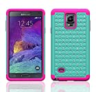 Galaxy Note 4 Case - Galaxy Wireless Samsung Note 4 Rugged Heavy Duty Case - Rugged Holster Case with Kickstand for Samsung Galaxy Note 4 (TEAL ON HOT PINK SKIN)
