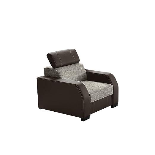 Sessel Marriott mit verstellbaren Kopfstutzen, Design Polstersessel Armsessel Loungesessel Ohrensessel, Relaxsessel , (Soft 066 + Sumatra 4)