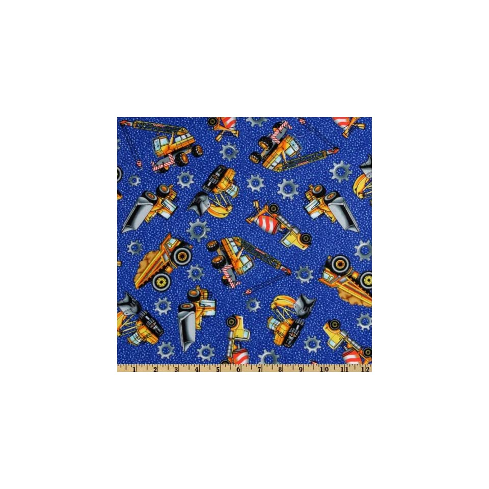 44 Wide Hard Hats Tossed Trucks Dark Blue Fabric By The Yard