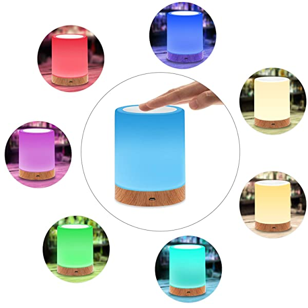 Night Light Touch Lamp with Dimmable Warm White Light and Color Changing RGB, Portable Table Bedside Lamp with USB Rechargeable for Nursery, Kids, Bab