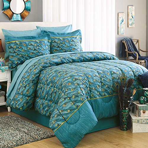 First At Home Peacock Comforter Set, Queen, Teal