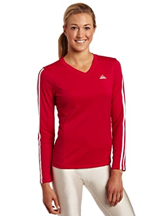 adidas Women's A360 Long-Sleeve Top , Sharp Red/ White, XX-Large