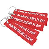 DayCount Pack of 5 Embroidered Key Chain Remove Before Flight Letters Key Tags Luggage Tag for Bag Hanging Decor (Red) (Color: Red, Tamaño: 5.1 x 1.2 inch)