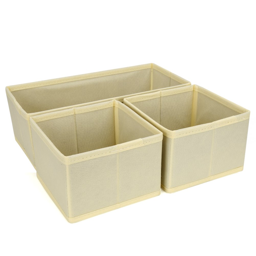 Set of 3 Drawer Bin Set - EZOWare Closet / Dresser Storage Drawer Organizer Basket for Bras, Socks, Underwear, Tie, Scarves, Gloves and more