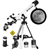 Telescope 60mm Apeture 700mm AZ Telescope - Refractor & Travel Scope for Beginners and Kids to Observe Moon and Planet with Tripod and 10mm Eyepiece Smartphone Adapter (Tamaño: 60700)