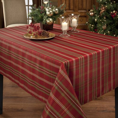 Benson mills christmasville metallic fabric tablecloth 60 for 85 inch tablecloths