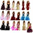 Barwa® 3 Pcs Night Looks Princess Evening Wedding Party Dress Clothes Gown Outfit for Barbie Doll One Free Mini Dress