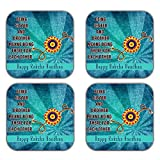 MeSleep Rakhi Wooden Coaster-Set Of 4 - B013LEKGI2