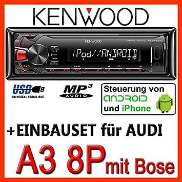 AUDI a3 8P-kenwood kMM - 264/mP3/uSB avec kit de fixation pour casque bose
