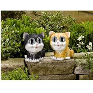 Smart Solar Cat Spotlights Twin pack with ginger and black/white colours