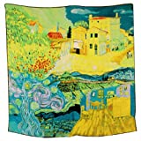 Dahlia Women's 100% Square Silk Scarf - Van Gogh Painting Collection - Blue