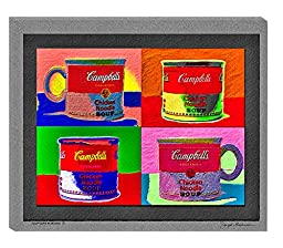 Mosaic Soup Cups, 24x20 Inches. Colorful Home Decor. Modern Art, Pop Art for the Home, a Still Life. Original Art on Archival Canvas By the Gallery Wrap Store.