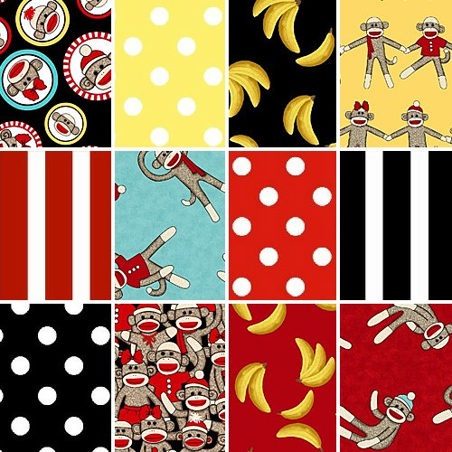Windham SOCKY Monkey Fat Quarters 12 Fabric Quilting FQs