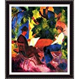 Couple At The Garden Table By Macke - ArtsNyou Printed Paintings - B00QA1DKBO