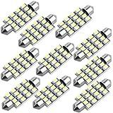 10 Lampe Ampoule 16 SMD LEDs Blanc 42mm pr Voiture Dôme Festoon
