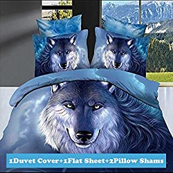 Ttmall Full Size 100% Cotton 3d Wolf Animals Blue Prints Bedding Sets Sheet Pillowcases Sets Bedding Duvets Covers Sets (Full, 4pcs Without Comforter)