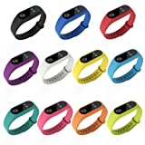 Xiaomi Mi Band 2 bands Pinhen Silicone Wrist Blet Strap Wristband Bracelet Accessories For Xiaomi Mi Band 2 Smart Watch Miband (Silicone 11pcs Set) (Color: Silicone 11pcs Set)