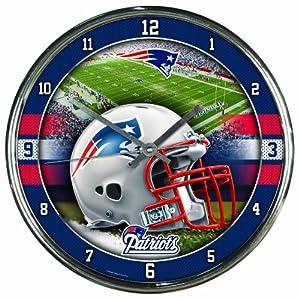 NFL New England Patriots Chrome Clock by WinCraft